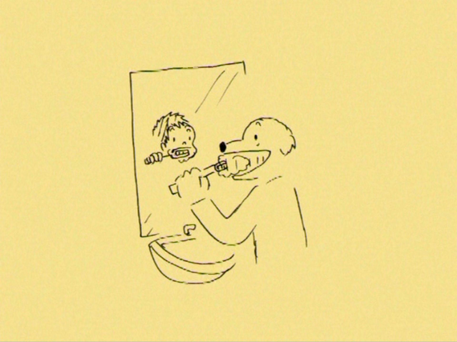 歯磨きをする犬。鏡には男の子が写っている。