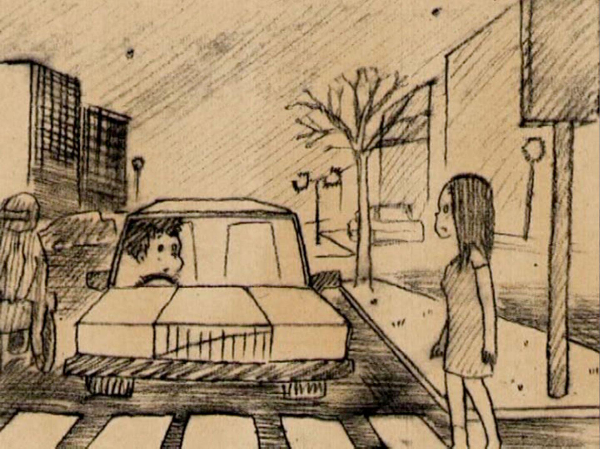 作品メインビジュアル。横断歩道を歩く女の子と、止まっている車の運転手の男の子の目が合う。鉛筆で描かれたイラスト。